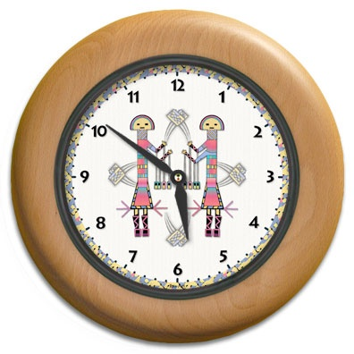 Rainbow Kachina Round Wood Wall Clock - From our Southwestern Clocks category,this clock features Native American kachinas from a sand painting.  $63.00