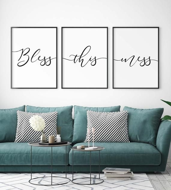 Bless This Mess Set Of 3 Piece Wall Art Farmhouse Home Decor Sign Living Room Above Couch Art Playroom Decor Couch Decor Above Couch Decor Living Room Art