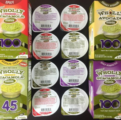 100-calorie packs of Wholly Guacamole made only with Hass avocado, vinegar, jalapeño pepper, dehydrated onion, salt, and granulated garlic.