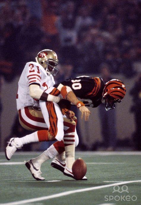 Eric Wright tackling Cris Collinsworth (1982) Super Bowl XVI