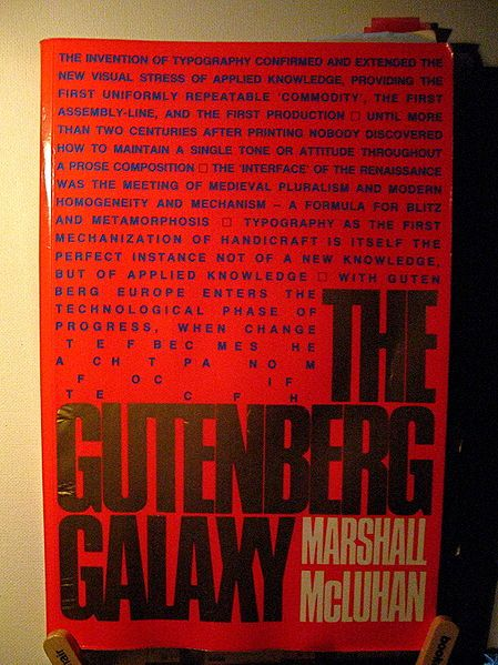 McLuhan's The Gutenberg Galaxy: The Making of Typographic Man (1962) is a pioneering study in the fields of oral culture, print culture, cultural studies, and media ecology.  Throughout the book, McLuhan  reveals how communication technology (alphabetic writing, the printing press, and the electronic media) affects cognitive organization and social organization.