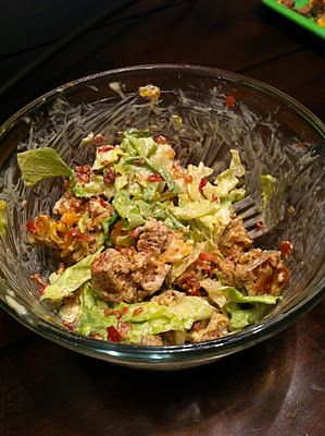 Hamburger Salad- burger, lettuce, tomato, cheese, pickle, bacon, mayo- chopped up and tossed together.