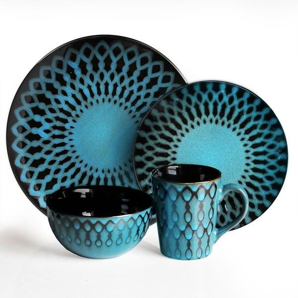 American Atelier Sicily Blue 16-pc. Dinnerware Set ($96) ❤ liked on Polyvore featuring home, kitchen & dining, dinnerware, blue, earthenware dinnerware, blue pattern dinnerware, contemporary dinnerware sets, earthenware bowl and contemporary dinnerware