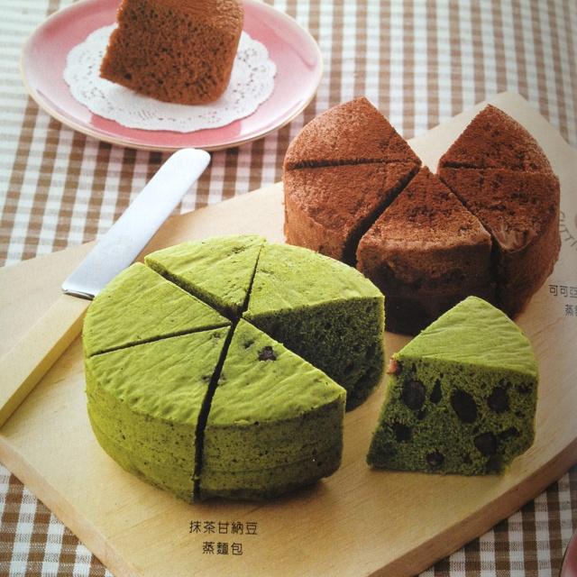 Cotton soft Azuki Maccha & Cocoa Steamed Cakes.