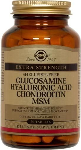 Glucosamine Hyaluronic Acid Chondroitin MSM (Shellfish-Free) Tablets, 3 tablets provide glucosamine 1500 mg, chondroitin sulfate 1200 mg, msm 1500 mg, biocell collagen type II extract 300 mg,