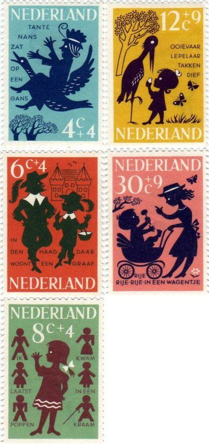 Dutch stamp desing. Theme is children rhymes (1963)