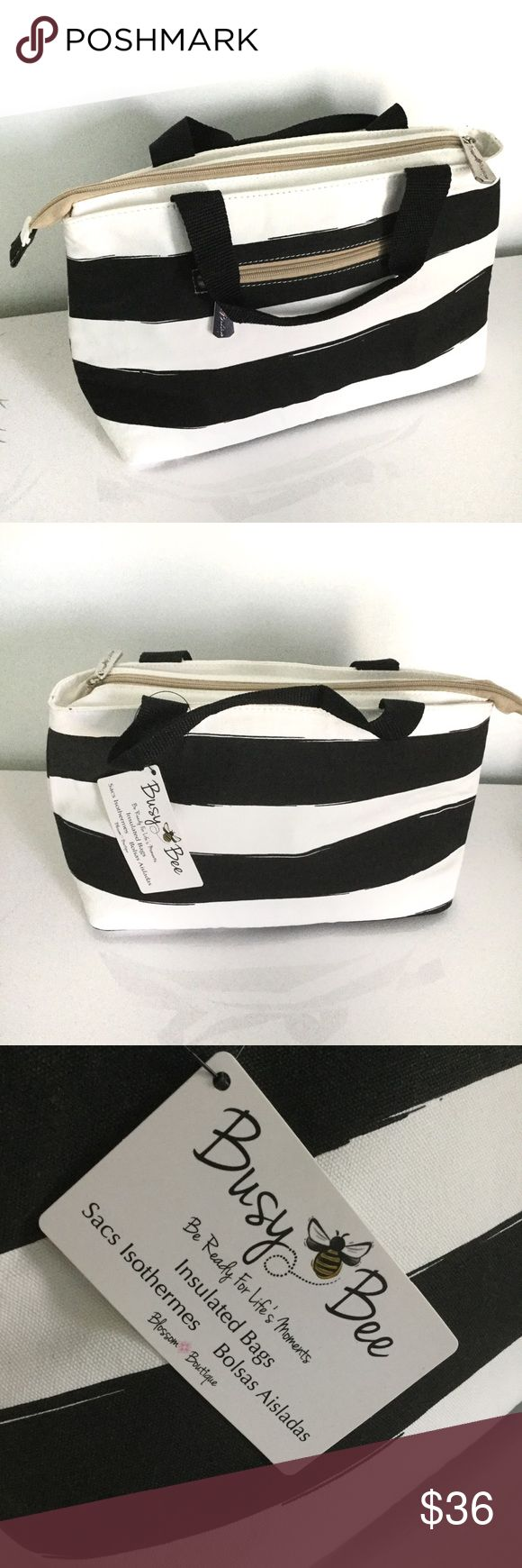 Insulated Lunch Tote Blossom Boutique Busy Bee Striped Lunch Bag. Insulated, keeps items cool for up to 3 hrs. Bags