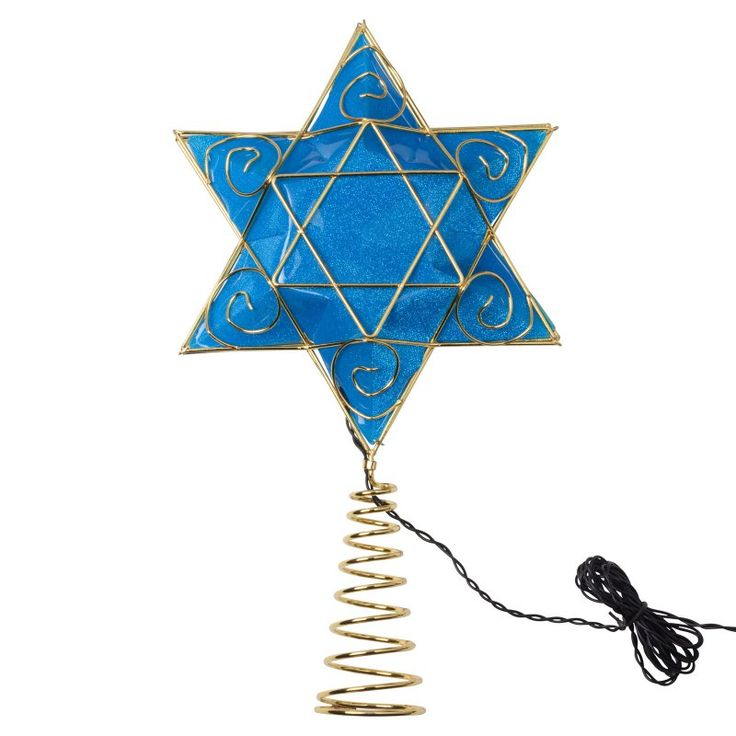 Kurt Adler 13 in. Battery-Operated Hanukkah Tree Topper - US0134