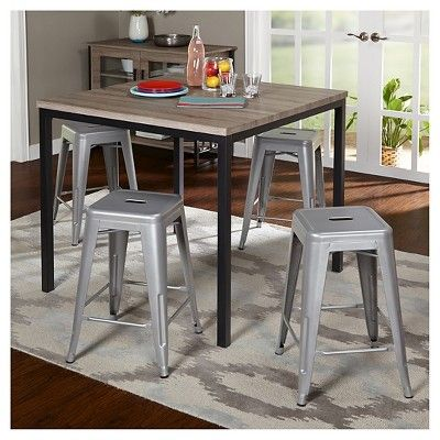 Barletta Counter Height Table Set Black/Gray/Silver 5 Piece - Tms