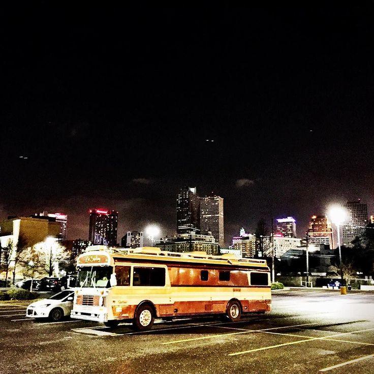 Ziz and the New Orleans skyline. #bus #frenchquarter #neworleans #wanderlust #wanderlodge #bluebird #unconventionallife by sethmatthewprice