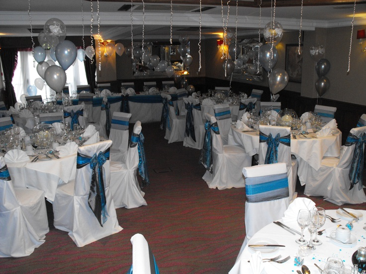 Double Teal Organza and Silver Satin Sashes on White Chair Covers