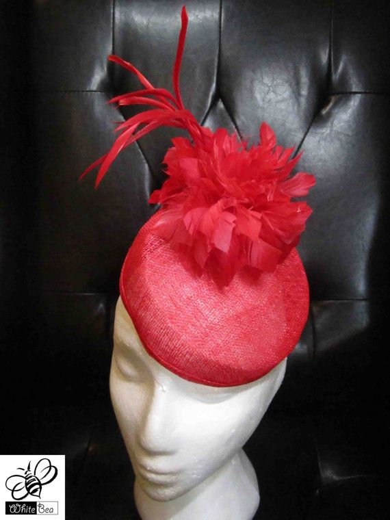 Fascinator with red sinamay and red feather flower by WhiteBea