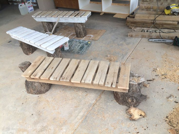 Another view of log and pallet benches