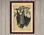 Hanging bat animal nature vampire print Rustic decor Cabin Vintage Retro poster Dictionary page Home interior Wall 0003