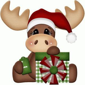 Silhouette Online Store: christmas moose with present print & cut