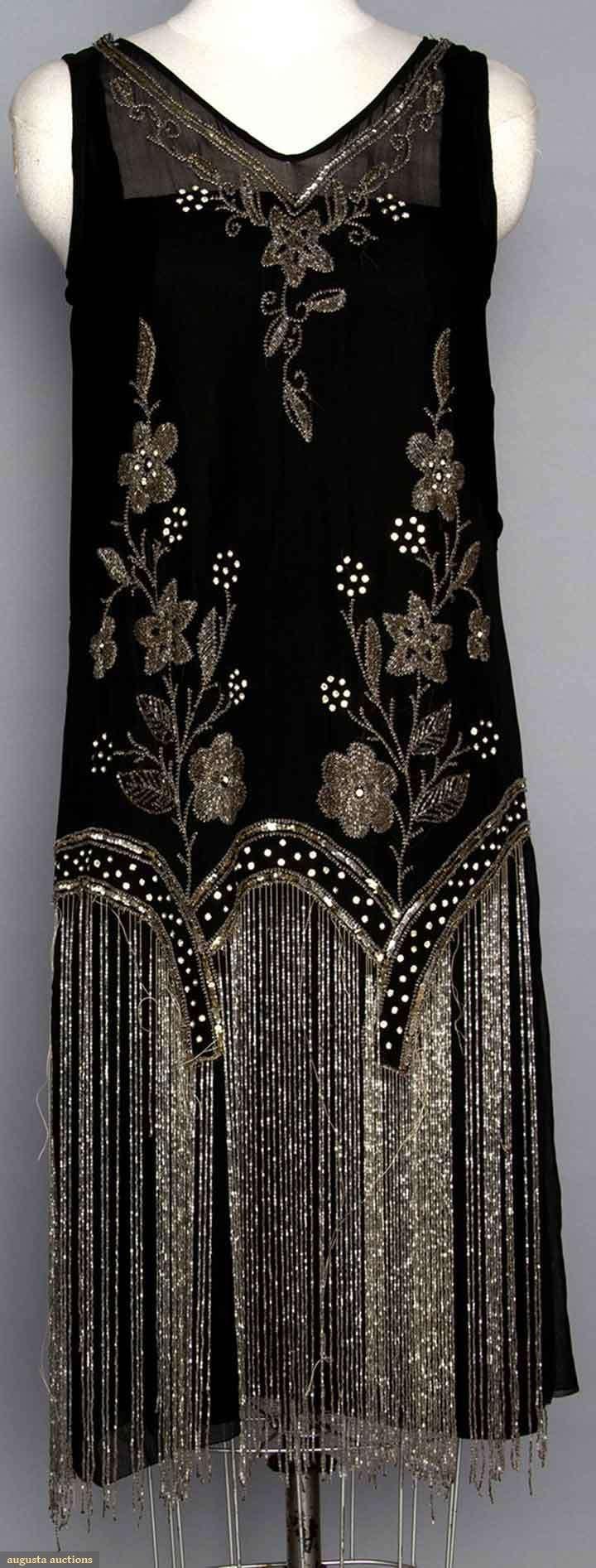 Augusta Auctions, backside, Beaded 1920's flapper dress. Black silk w/ crystal beads & long beaded fringe.