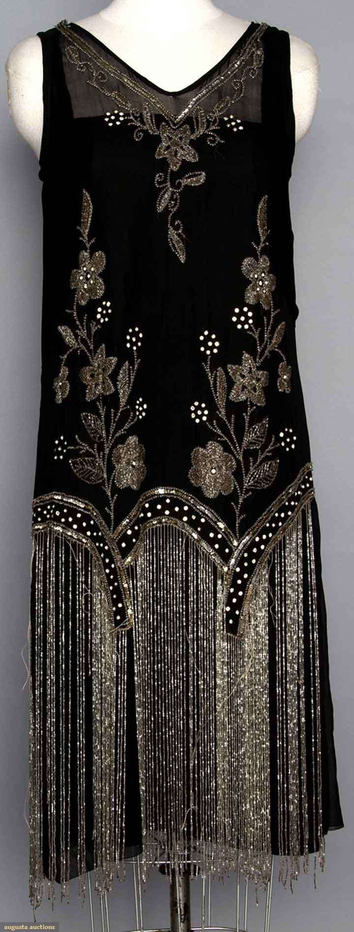 BEADED FLAPPER DRESS. Black silk w/ crystal beads & long beaded fringe. Front