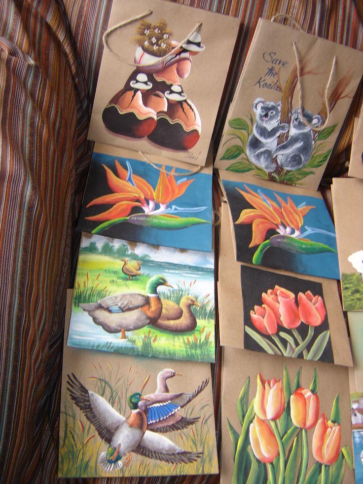 bolsas ecologicas  pintadas con acrilico,  carmen aldana- artesanias peruanas