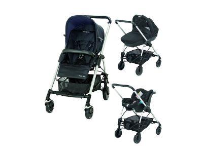 Passeggino trio Bébé Confort Streety Plus Total Black: -Telaio con seduta -Navicella -Seggiolino auto -Borsa nursery con materassino fasciatoio.