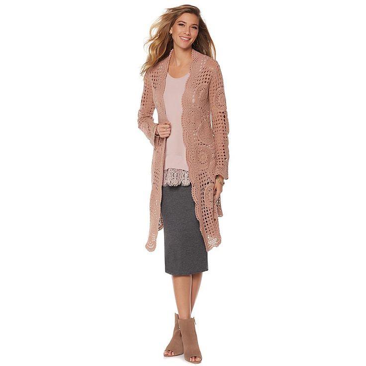 Daisy Fuentes Crochet Cardigan - Brown