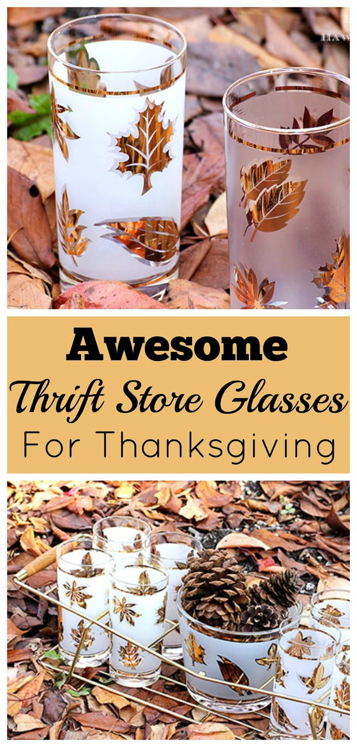 Vintage Libby Golden Foliage glassware make the perfect addition to your Thanksgiving table decor. I see this in thrift stores ALL THE TIME!