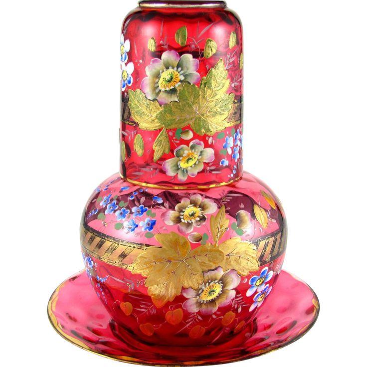 3pc Antique Victorian Cranberry Glass Enamel Tumble Up Bedside Carafe Set