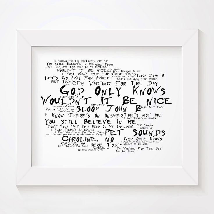 The Beach Boys Pet Sounds limited edition typography lyrics art print, signed and numbered album wall art poster available from www.lissomeartstudio.com