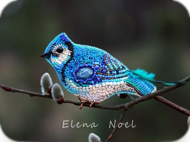 Вышитая брошь. Птица синего цвета! :) - Ярмарка Мастеров - ручная работа, handmade