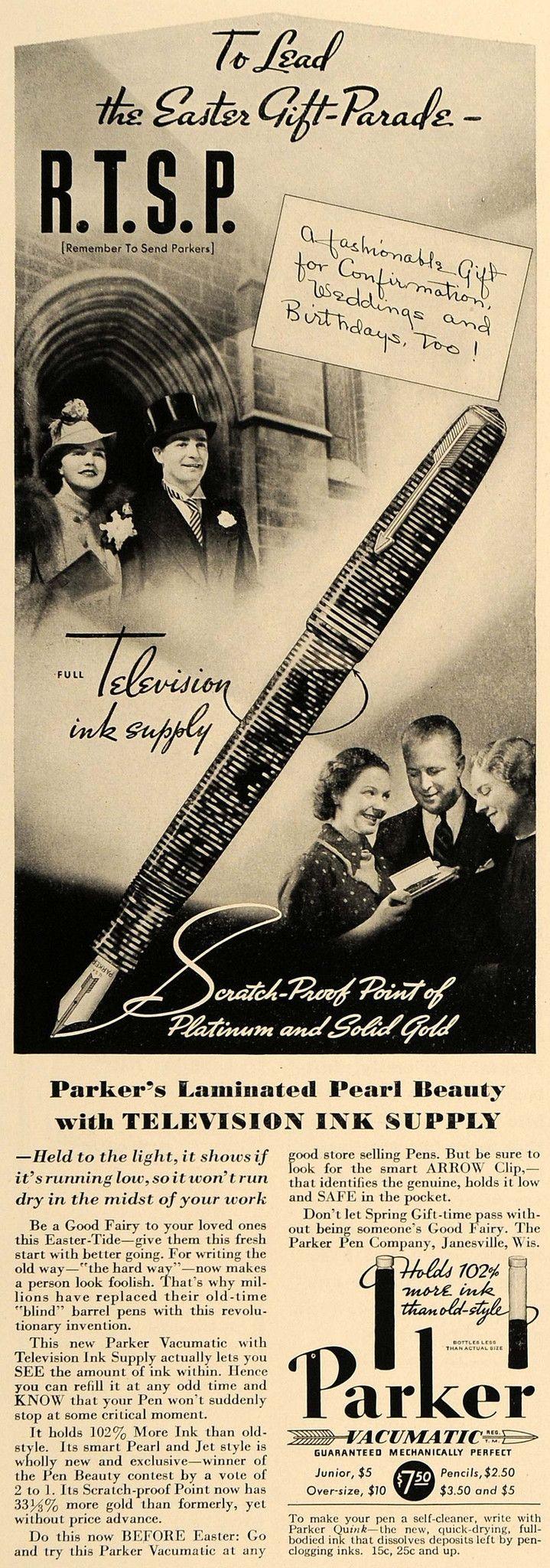 1937 Ad Parker Vacumatic Pen Ink Janesville Wisconsin - ORIGINAL ESQ3