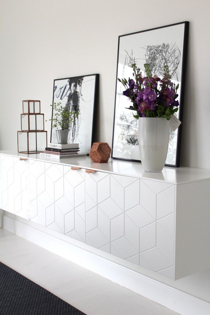 Do you want white to blend in, or stand out? The benefit of a floating credenza like this is that you can choose how high, or low, you want to hang it so that it works best with your surrounding decor. The other benefit is that the doors are interchangeable, so if you don't like the graphic style, you can always go back to basics and not have to blow your budget on a new unit #Graphic #white #lglimitlessdesign #contest