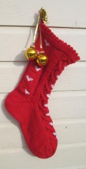 Sydänkuvioinen joulusukka (punainen)