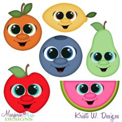 Cutekins~Fruit SVG Cutting Files Includes Clipart