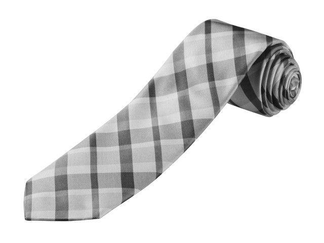 Moderno motivo in stile tartan grigio/antracite/nero. 100% seta