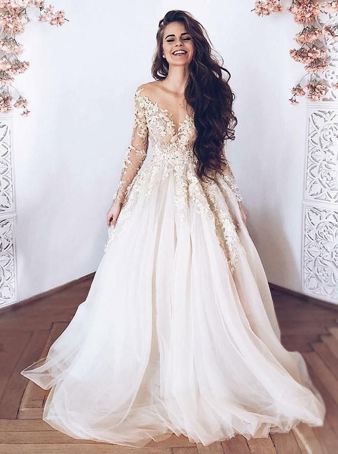 Prom Dress Tight, A-Line Illusion Neck Long Sleeves Light Champagne Tulle Wedding Dress with Appliques