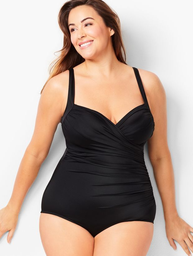 ff8736a84e3bc details A gorgeous classic shape, this one-piece swimsuit is designed to  flatter with