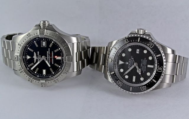 ROLEX DEEPSEA AND BREITLING SEAWOLF COMPARED: ROLEX DEEPSEA SEA-DWELLER AND BREITLING SEAWOLF