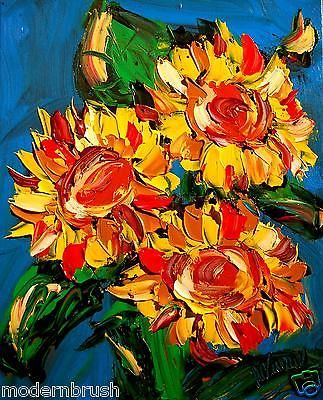 Abstract Expressionism  Sunflowers Original Painting Canvas by M.Kazav 24 x 20