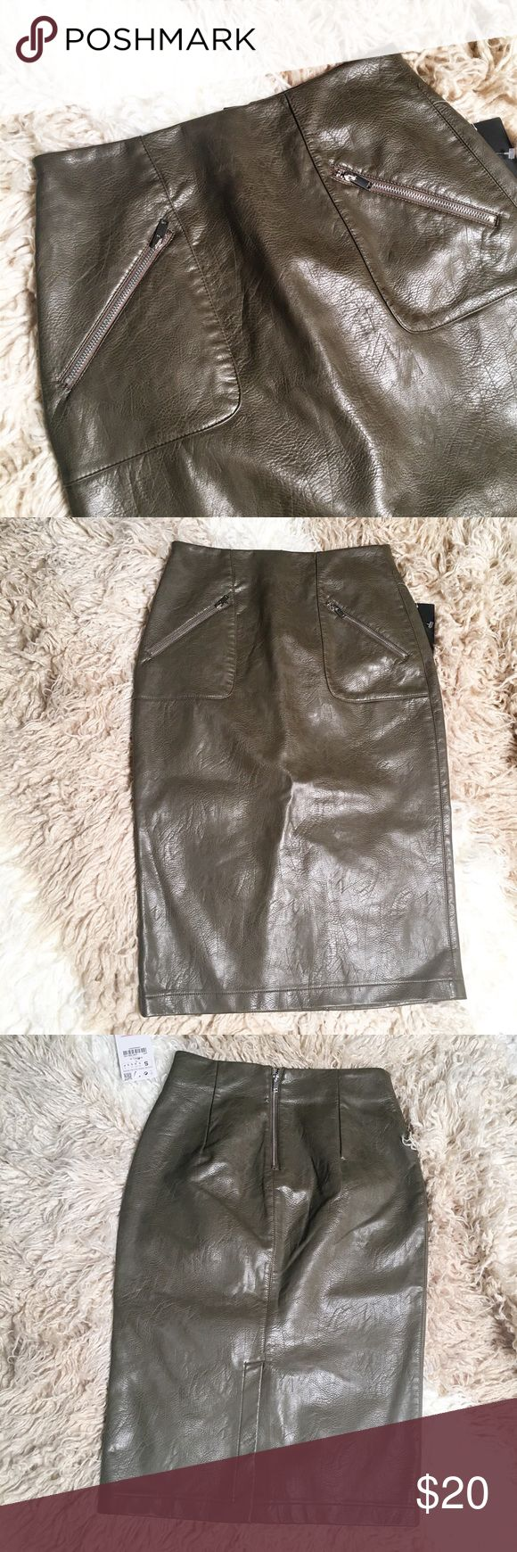 Zara Faux Leather Pencil Skirt Sz S NWT zipper pockets, cement like color or olive, slit in the back side. Waist measures 13 inches, hips approximately 15 inches and 26 inches in length. Zara Skirts Pencil