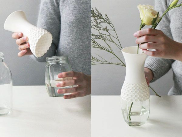 Lace Vase by Milk Design is a rubber neck which can be fit onto a container to make a vase. #Lace_Vase #Vase #Milk_Design