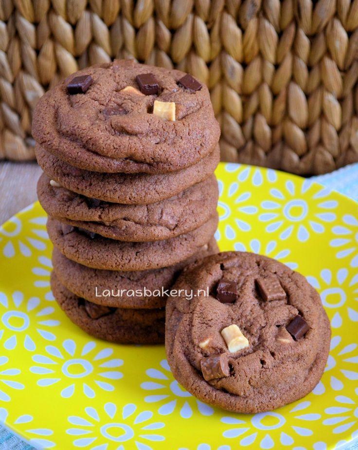 Triple chocolate chip cookies // zelf toevoegen: stukjes caramel fudge, of cranberries