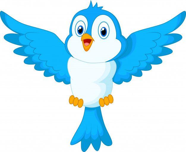 Voo De Passaro Azul Bonito Dos Desenhos Animados Cartoon Birds Birds Flying Blue Bird