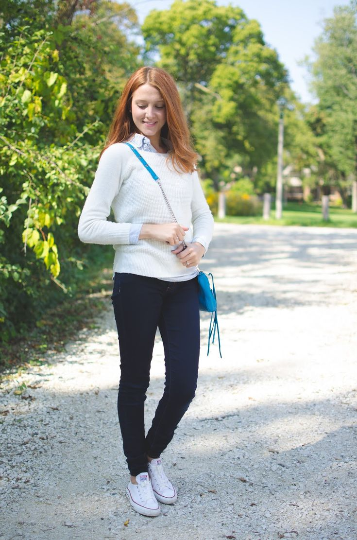 Beautyosaurus Lex // Cozy & Casual Fall Outfit //  J.Crew Cable Knit Sweater, J.Crew Chambray, Rebecca Minkoff MAC Mini, American Eagle Jeggings, White Low Top Converse.
