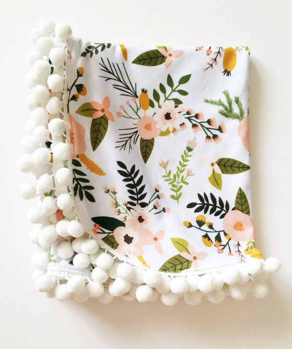 Floral Pompom swaddle blanket by DearOliviaJade on Etsy