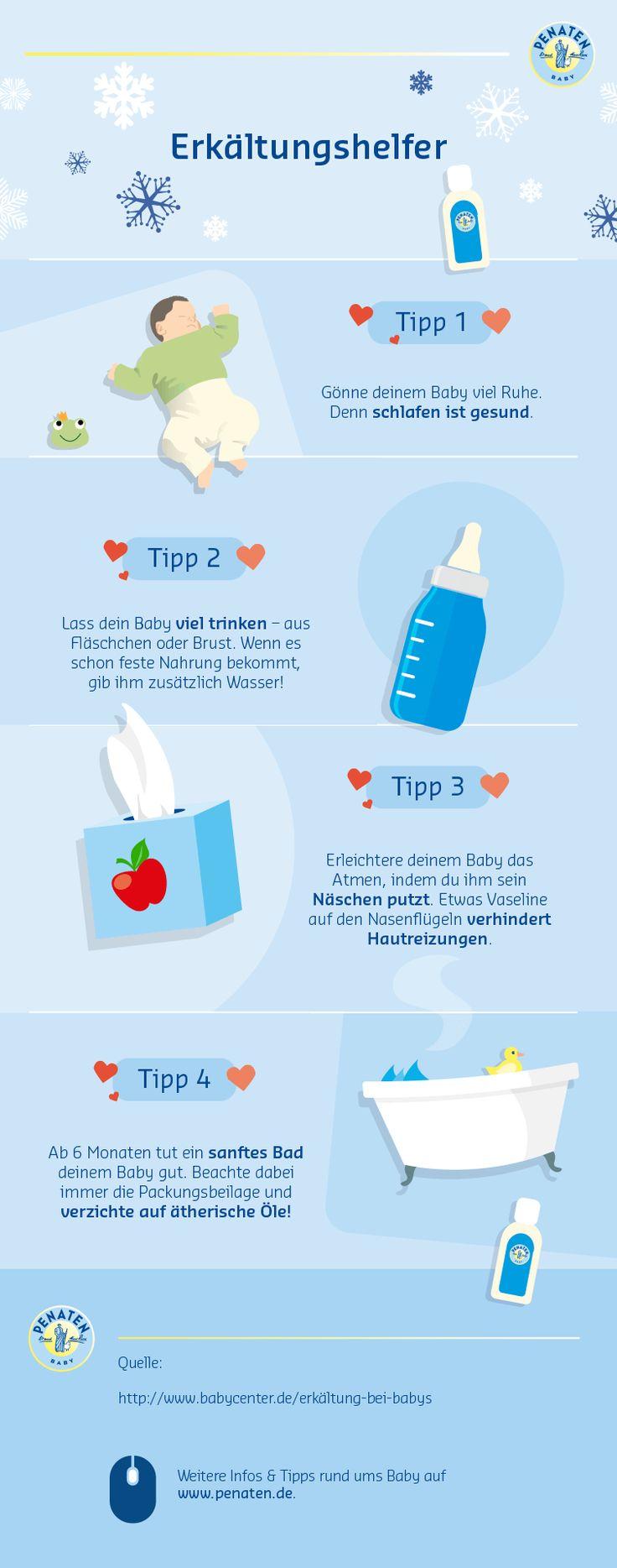 Babys sind bis zu 10 Mal im Jahr erkältet. So hilfst du deinem Kind, schnell wieder gesund zu werden. #penaten #mamasein #lebenmitbaby #elternzeit #erkältung #baden #schnupfen #babyhaut #erkältungstipps #babypflege #neugeborenes #infografik #babywissen #babypflege #checklist