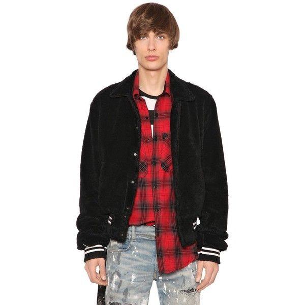 Amiri Men Faux Fur Cotton Bomber Jacket (43.477.295 IDR) ❤ liked on Polyvore featuring men's fashion, men's clothing, men's outerwear, men's jackets, black, mens bomber jacket, mens cotton bomber jacket, mens faux fur jacket and mens flight jacket