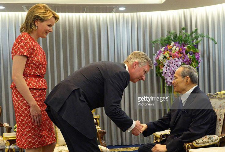 Prince Philippe (C) and Princess Mathilde of Belgium meet with King Bhumibol Adulyadej of Thailand on March 22, 2013 in Bangkok, Thailand. Prince Philippe and Princess Mathilde of Belgium are on a six-day visit to Thailand.