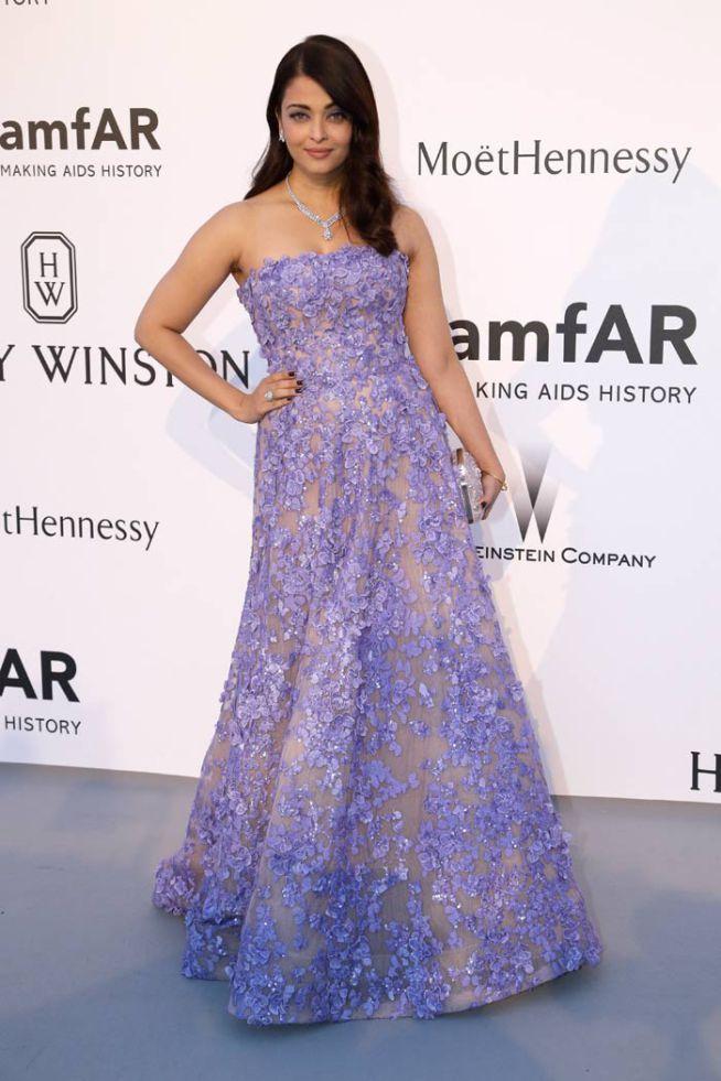 Aishwarya Rai Bachchan in a lavender Elie Saab ensemble at amfAR Gala.
