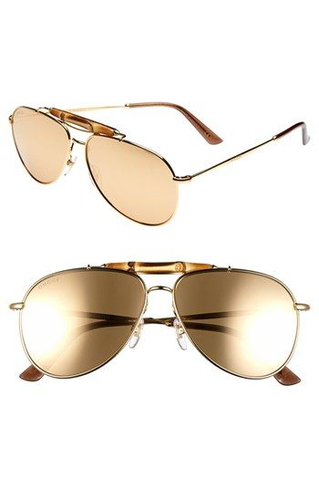 $1,195, Gold Sunglasses: Gucci 58mm Aviator Sunglasses Gold One Size. Sold by Nordstrom. Click for more info: https://lookastic.com/men/shop_items/86176/redirect