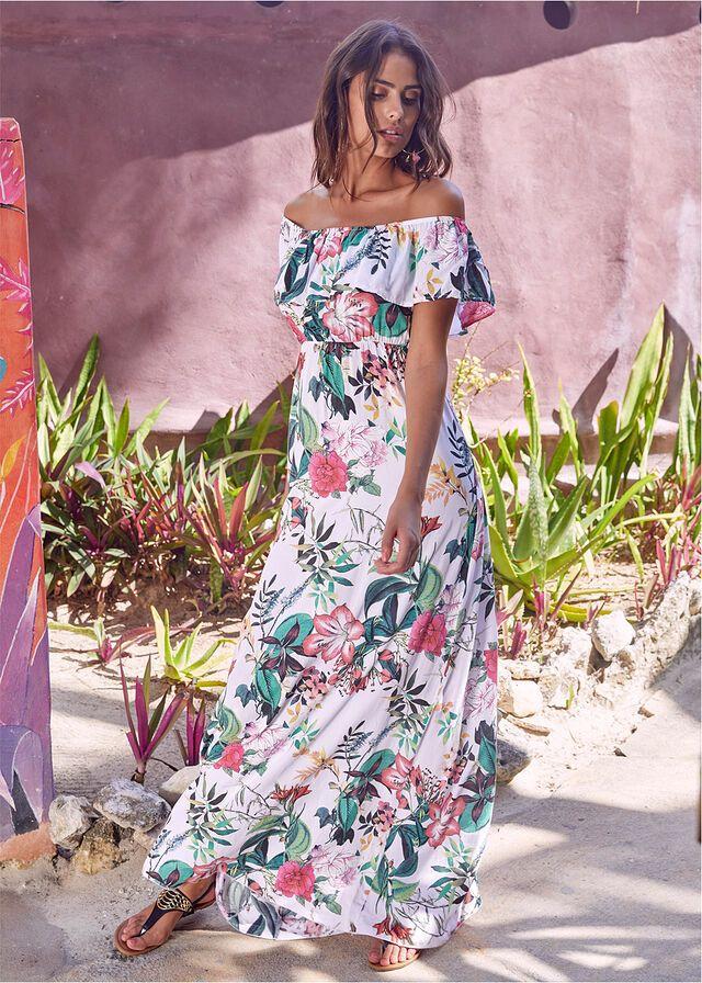 Dluga Sukienka W Kwiaty Bialy W Kwiaty 149 99 Zl Bonprix Egresadas