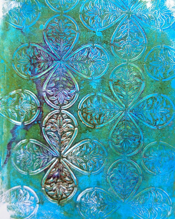 Gelli Plate and Medieval Leaves Stencil Stencil Girl Products